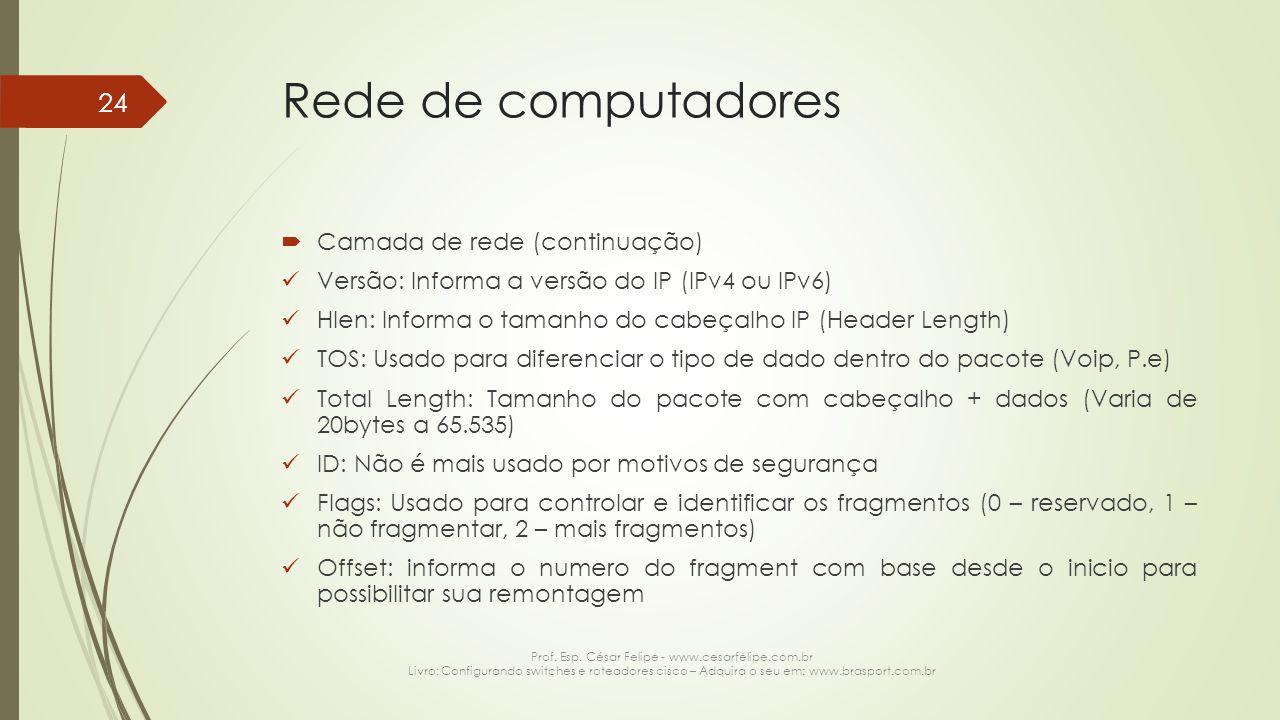 Rede de computadores  Camada de rede (continuação) Versão: Informa a versão do IP (IPv4 ou IPv6) Hlen: Informa o tamanho do cabeçalho IP (Header Leng