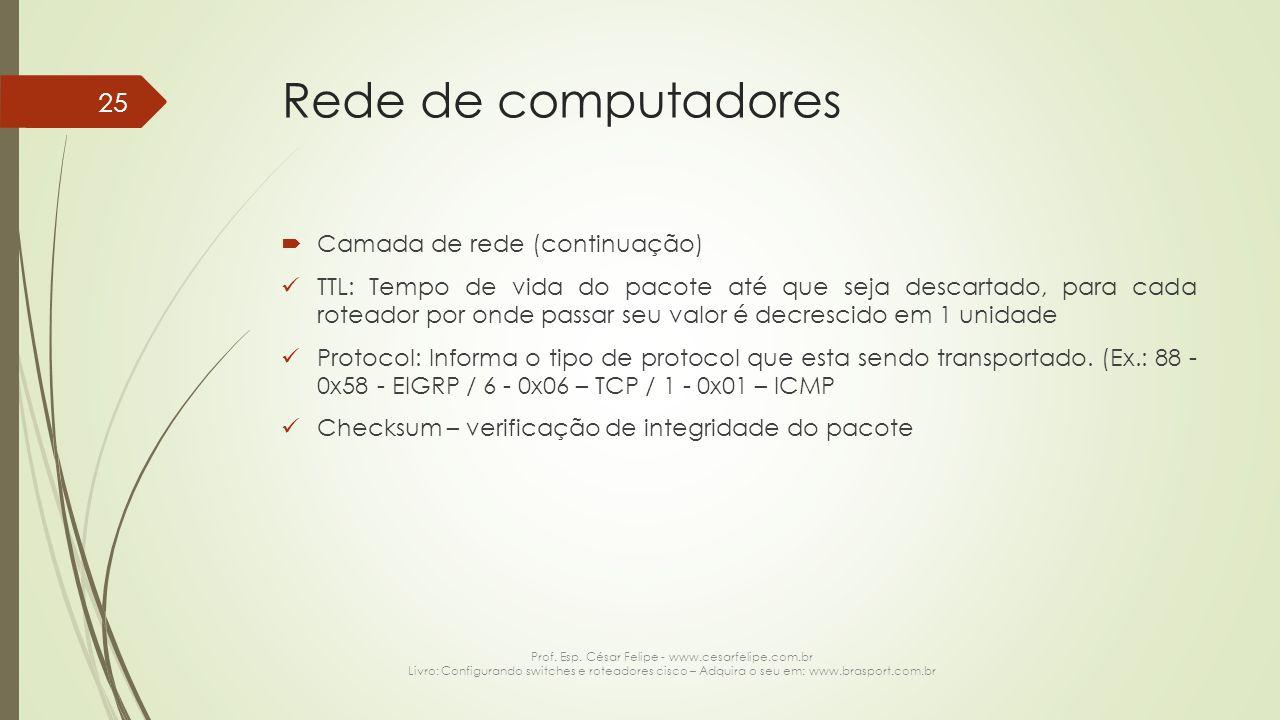 Rede de computadores  Camada de rede (continuação) TTL: Tempo de vida do pacote até que seja descartado, para cada roteador por onde passar seu valor