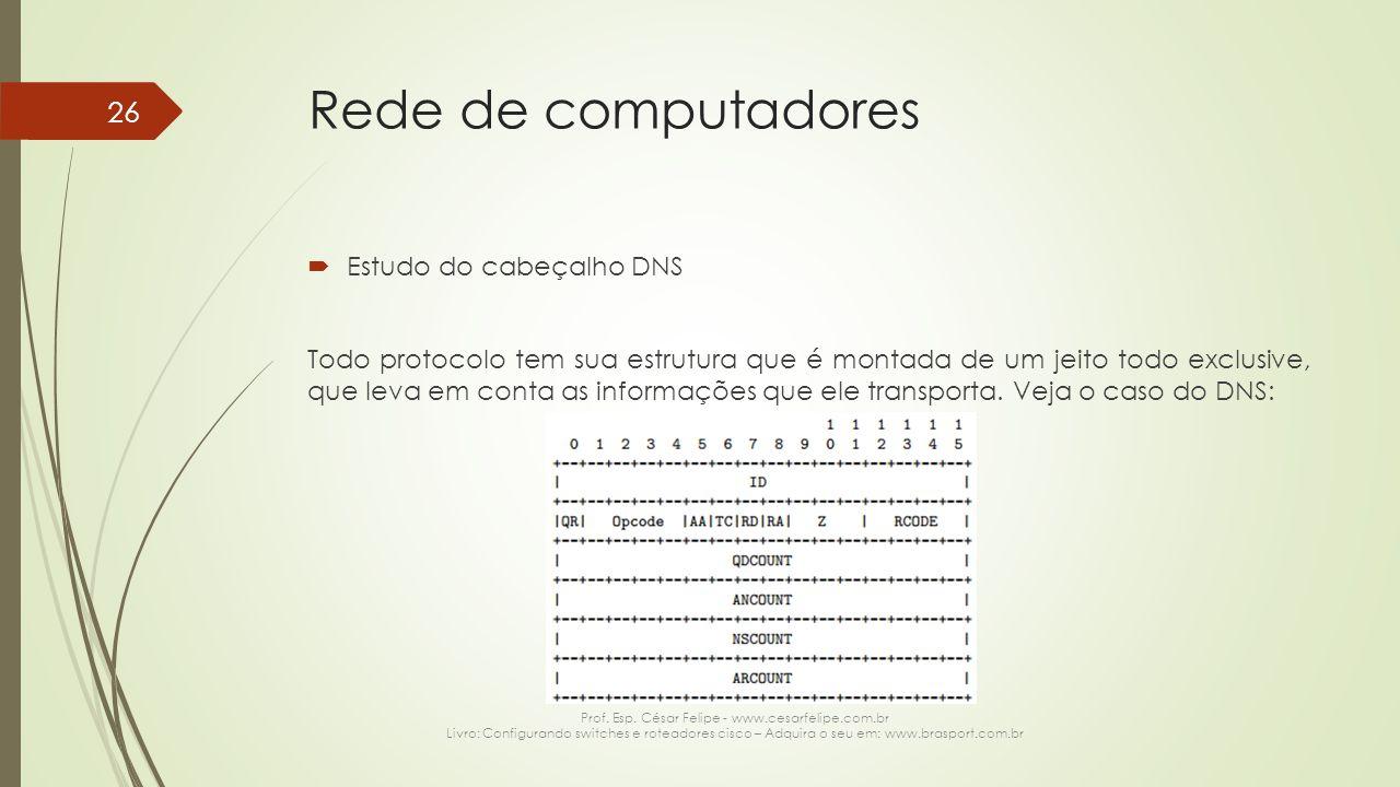 Rede de computadores  Estudo do cabeçalho DNS Todo protocolo tem sua estrutura que é montada de um jeito todo exclusive, que leva em conta as informa