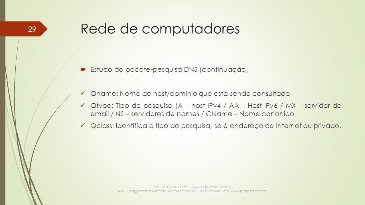 Rede de computadores  Estudo do pacote-pesquisa DNS (continuação) Qname: Nome de host/dominio que esta sendo consultado Qtype: Tipo de pesquisa (A –