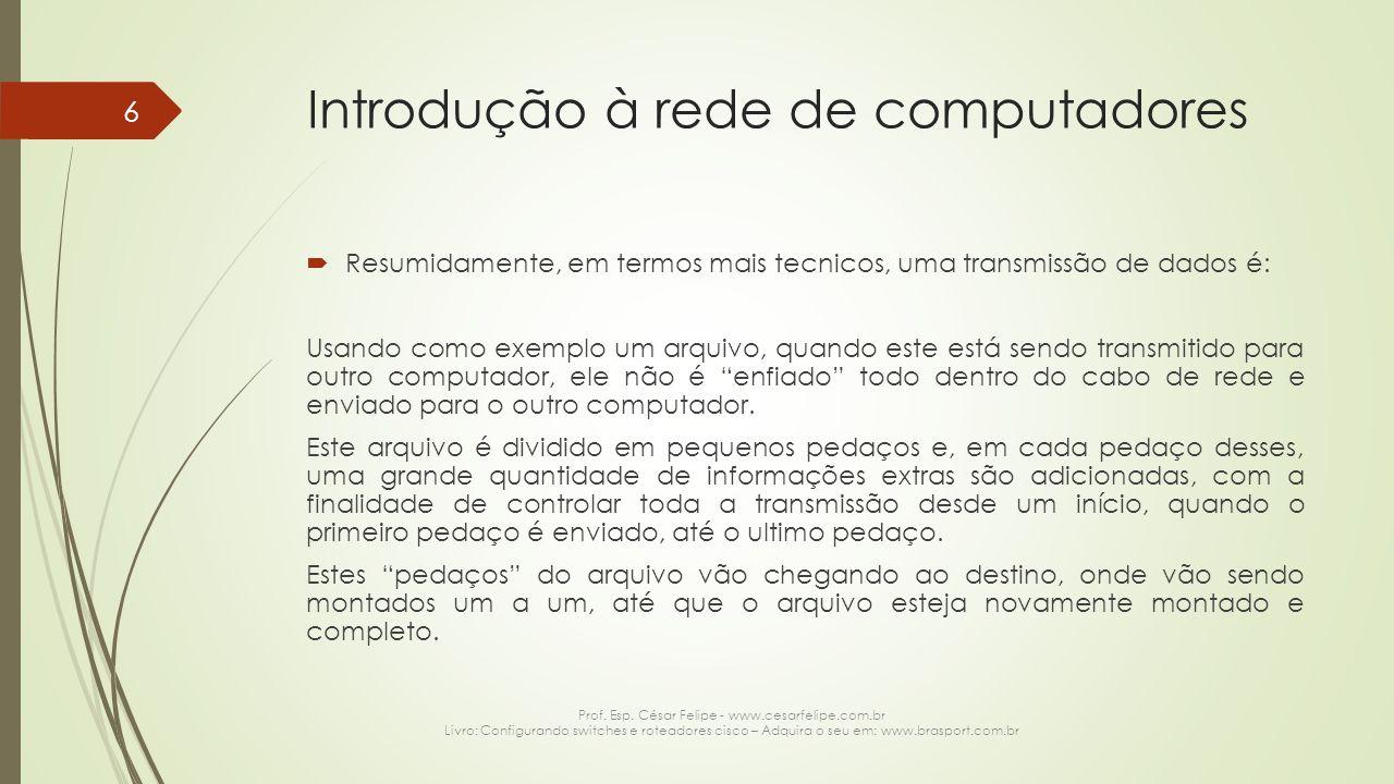 Introdução à rede de computadores  Resumidamente, em termos mais tecnicos, uma transmissão de dados é: Usando como exemplo um arquivo, quando este es
