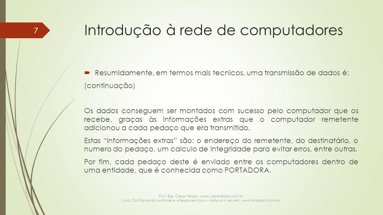 Introdução à rede de computadores  Portadora Como dito anteriormente, uma portadora é responsável por transportar os dados que estão sendo transmitidos + as informações de controle, conforme ilustração abaixo: Prof.