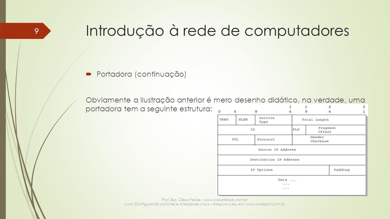 Rede de computadores  Camada de transporte (continuação) Os protocolos da camada de transporte também são responsáveis por encapsular à portadora na porta de destino e de origem na qual a conexão deverá ser estabelecida, com base no protocolo que foi utilizado na camada de aplicação.