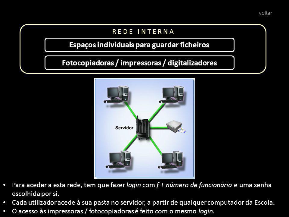 R E D E I N T E R N A Espaços individuais para guardar ficheiros Para aceder a esta rede, tem que fazer login com f + número de funcionário e uma senha escolhida por si.