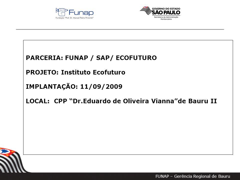 FUNAP – Gerência Regional de Bauru PARCERIA: FUNAP / SAP/ ECOFUTURO PROJETO: Instituto Ecofuturo IMPLANTAÇÃO: 11/09/2009 LOCAL: CPP Dr.Eduardo de Oliveira Vianna de Bauru II