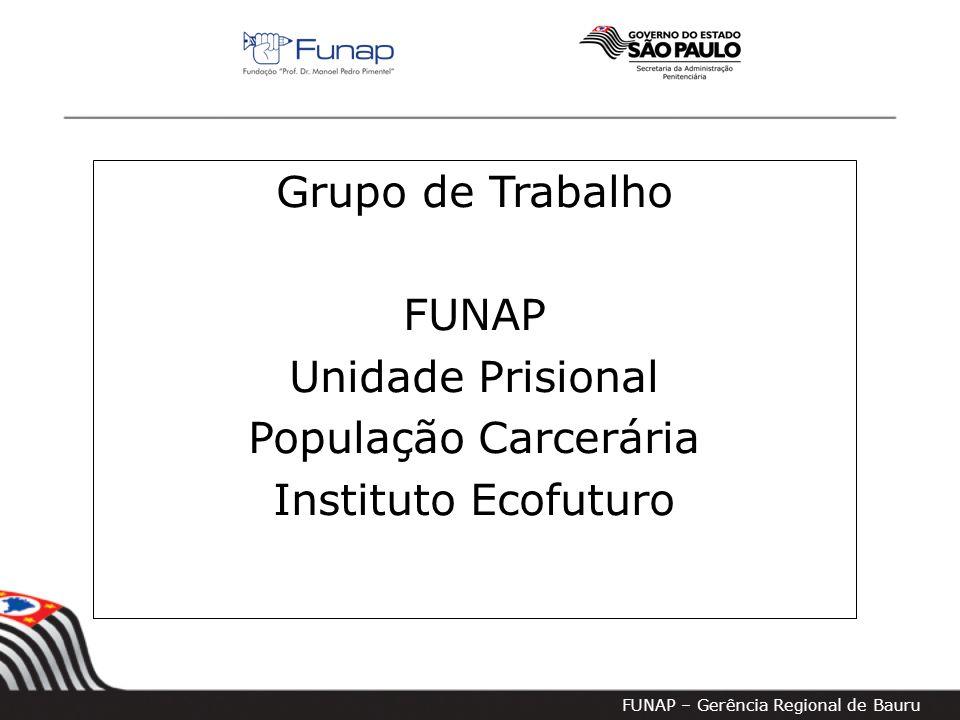 FUNAP – Gerência Regional de Bauru Grupo de Trabalho FUNAP Unidade Prisional População Carcerária Instituto Ecofuturo