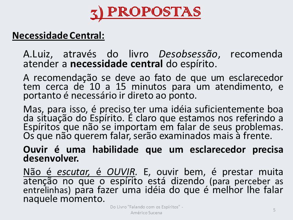 3) PROPOSTAS Necessidade Central: A.Luiz, através do livro Desobsessão, recomenda atender a necessidade central do espírito.