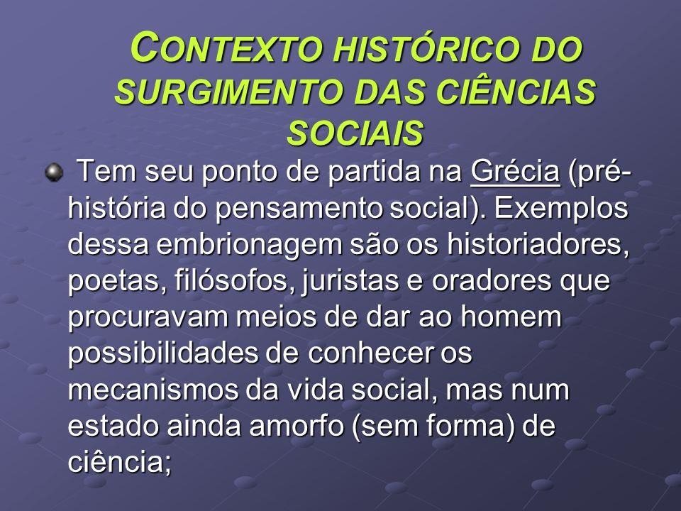 C ONTEXTO HISTÓRICO DO SURGIMENTO DAS CIÊNCIAS SOCIAIS Tem seu ponto de partida na Grécia (pré- história do pensamento social).