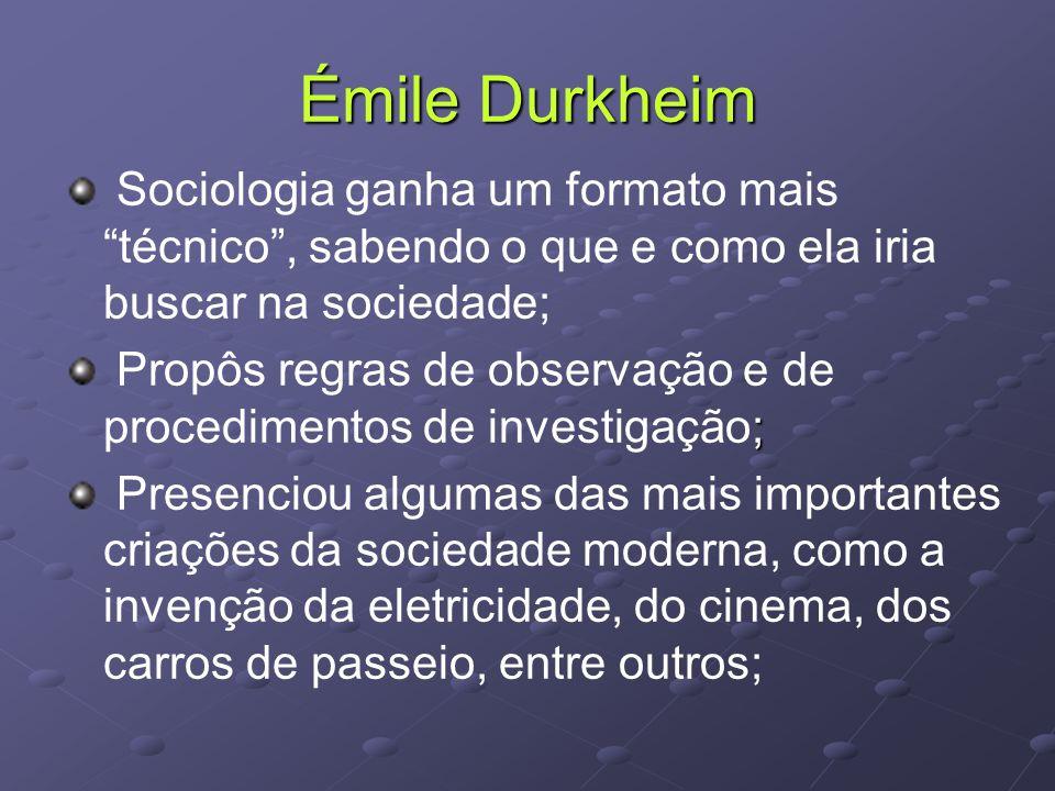Émile Durkheim Sociologia ganha um formato mais técnico , sabendo o que e como ela iria buscar na sociedade; ; Propôs regras de observação e de procedimentos de investigação; Presenciou algumas das mais importantes criações da sociedade moderna, como a invenção da eletricidade, do cinema, dos carros de passeio, entre outros;