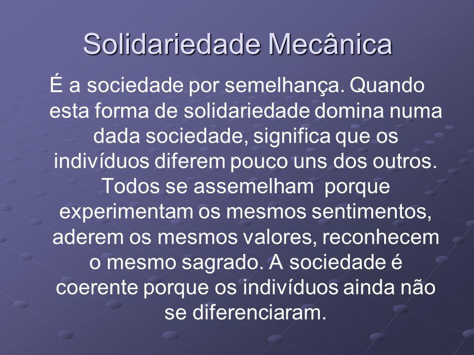 Solidariedade Mecânica É a sociedade por semelhança.