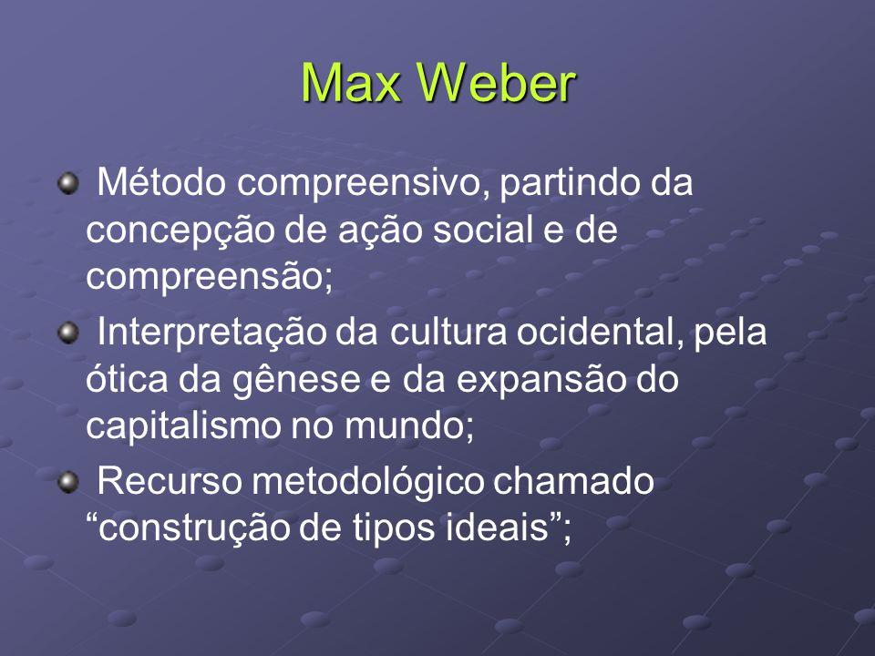 Max Weber Método compreensivo, partindo da concepção de ação social e de compreensão; Interpretação da cultura ocidental, pela ótica da gênese e da expansão do capitalismo no mundo; Recurso metodológico chamado construção de tipos ideais ;