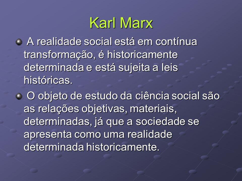 Karl Marx A realidade social está em contínua transformação, é historicamente determinada e está sujeita a leis históricas.