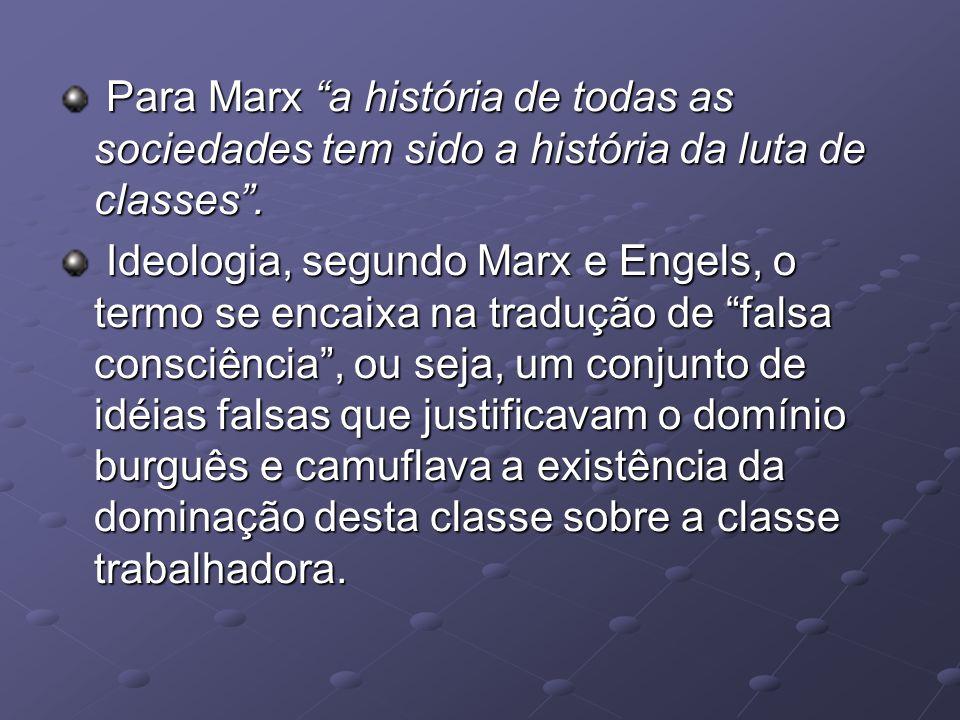 Para Marx a história de todas as sociedades tem sido a história da luta de classes .