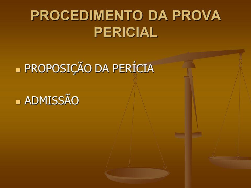 PROCEDIMENTO DA PROVA PERICIAL PROPOSIÇÃO DA PERÍCIA PROPOSIÇÃO DA PERÍCIA ADMISSÃO ADMISSÃO