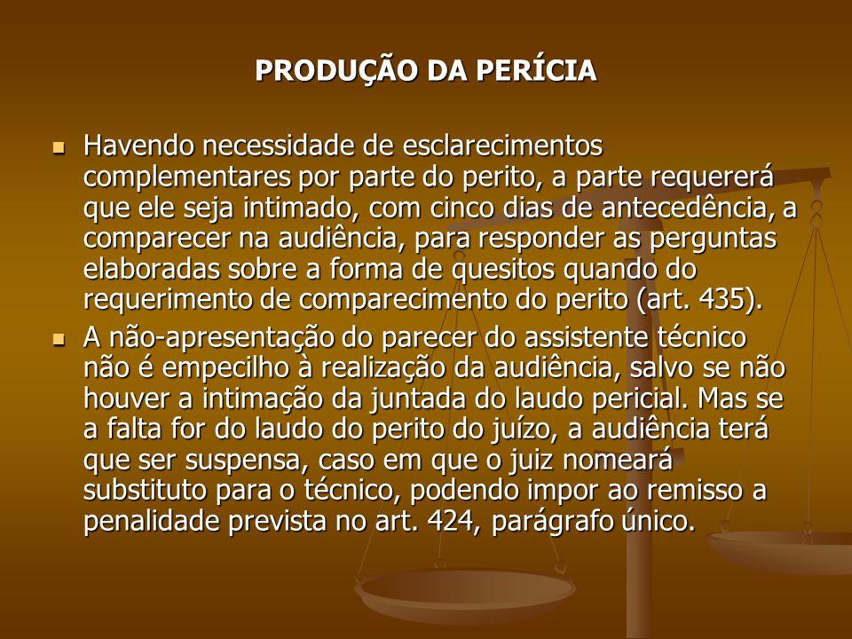PRODUÇÃO DA PERÍCIA Havendo necessidade de esclarecimentos complementares por parte do perito, a parte requererá que ele seja intimado, com cinco dias