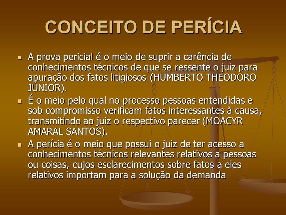 CONCEITO DE PERÍCIA A prova pericial é o meio de suprir a carência de conhecimentos técnicos de que se ressente o juiz para apuração dos fatos litigio