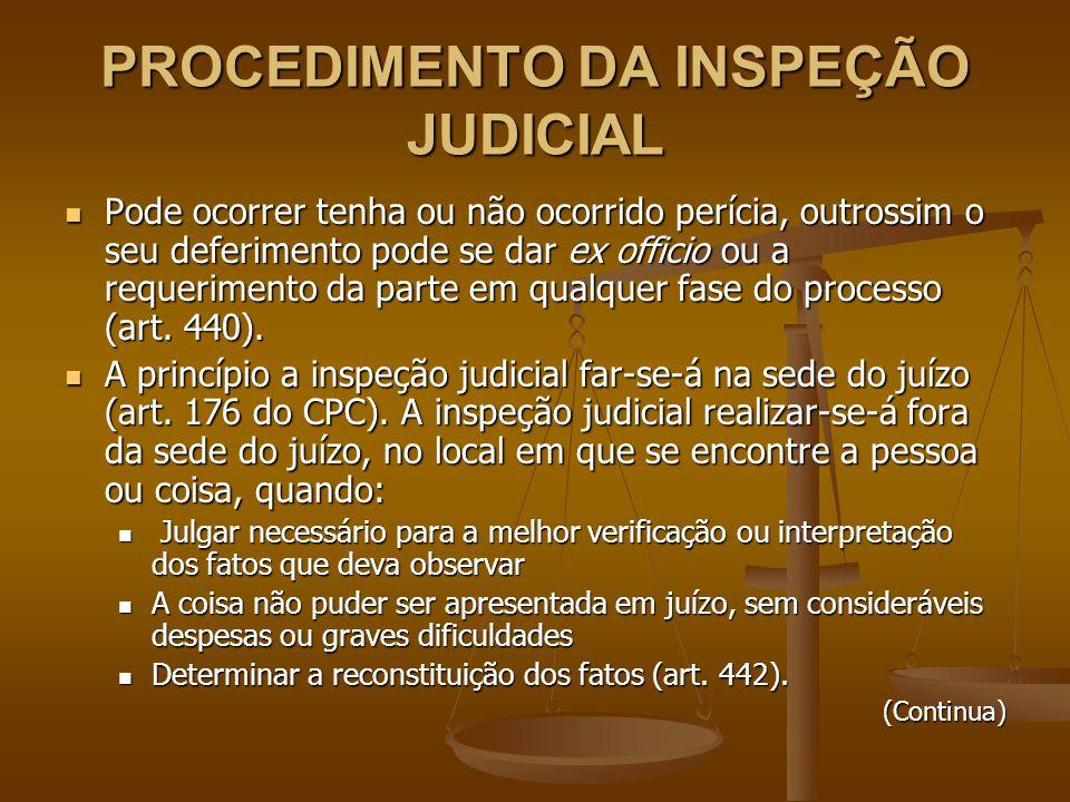 PROCEDIMENTO DA INSPEÇÃO JUDICIAL Pode ocorrer tenha ou não ocorrido perícia, outrossim o seu deferimento pode se dar ex officio ou a requerimento da