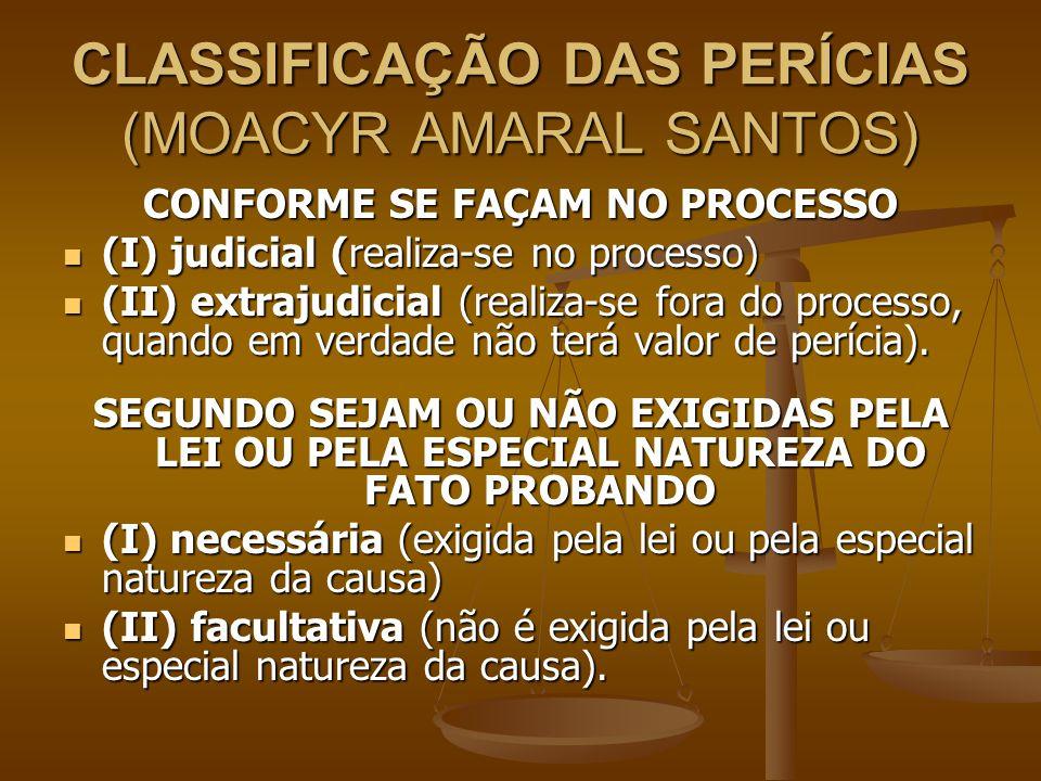 CLASSIFICAÇÃO DAS PERÍCIAS (MOACYR AMARAL SANTOS) CONFORME SE FAÇAM NO PROCESSO (I) judicial (realiza-se no processo) (I) judicial (realiza-se no proc