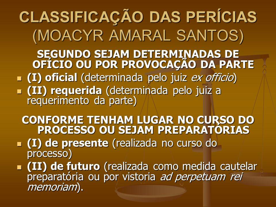 CLASSIFICAÇÃO DAS PERÍCIAS (MOACYR AMARAL SANTOS) SEGUNDO SEJAM DETERMINADAS DE OFÍCIO OU POR PROVOCAÇÃO DA PARTE (I) oficial (determinada pelo juiz e