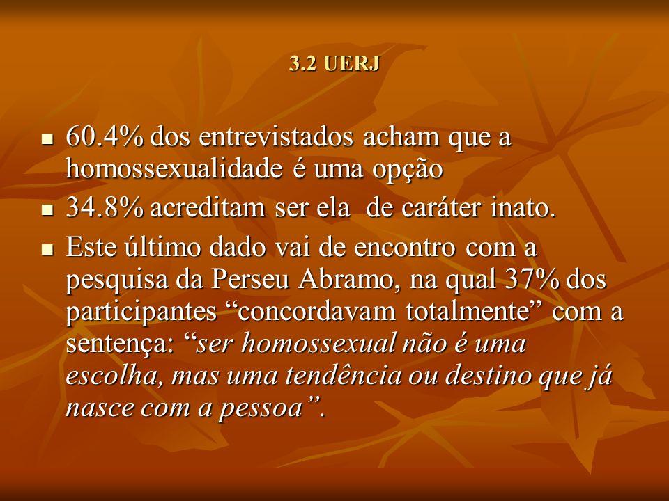 3.2 UERJ 60.4% dos entrevistados acham que a homossexualidade é uma opção 60.4% dos entrevistados acham que a homossexualidade é uma opção 34.8% acred