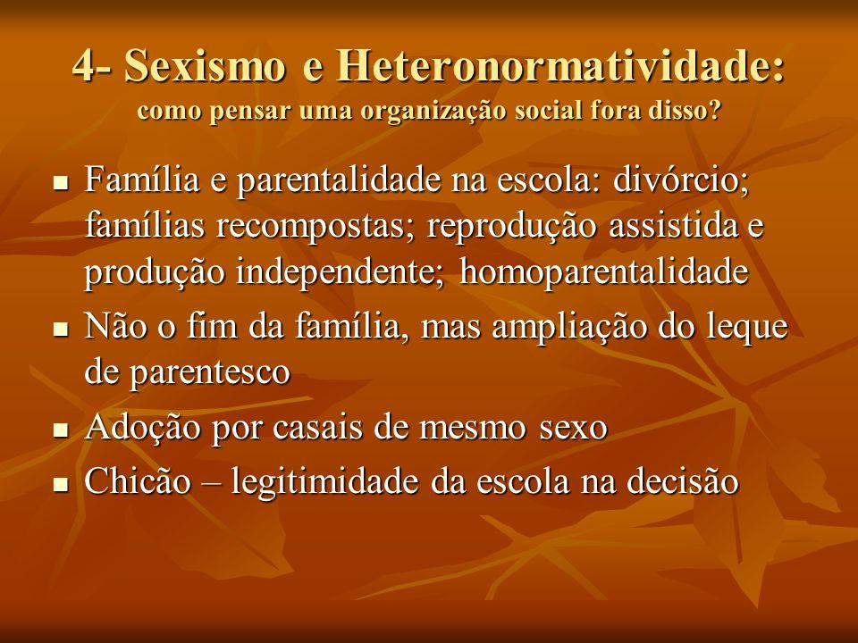 4- Sexismo e Heteronormatividade: como pensar uma organização social fora disso? Família e parentalidade na escola: divórcio; famílias recompostas; re