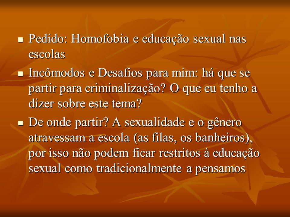 Pedido: Homofobia e educação sexual nas escolas Pedido: Homofobia e educação sexual nas escolas Incômodos e Desafios para mim: há que se partir para c