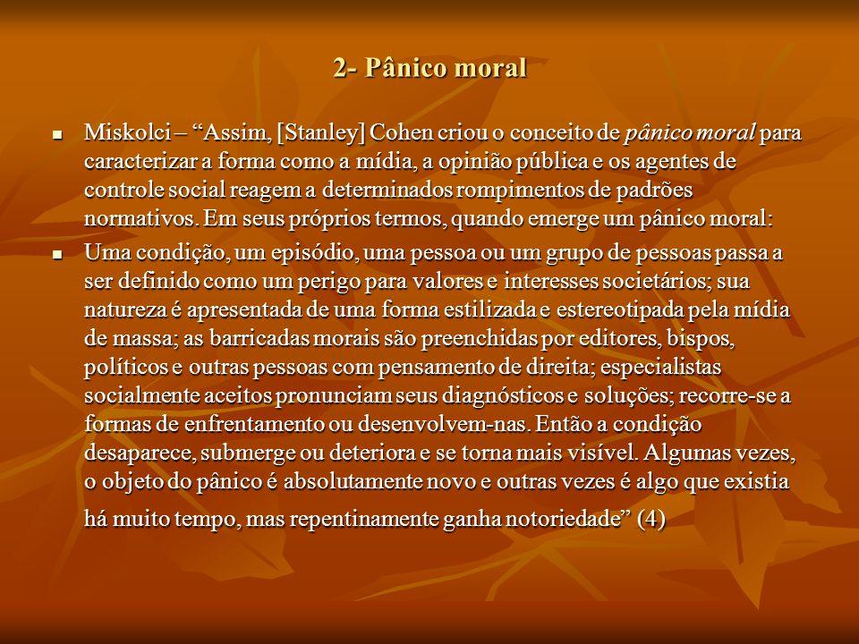 """2- Pânico moral Miskolci – """"Assim, [Stanley] Cohen criou o conceito de pânico moral para caracterizar a forma como a mídia, a opinião pública e os age"""