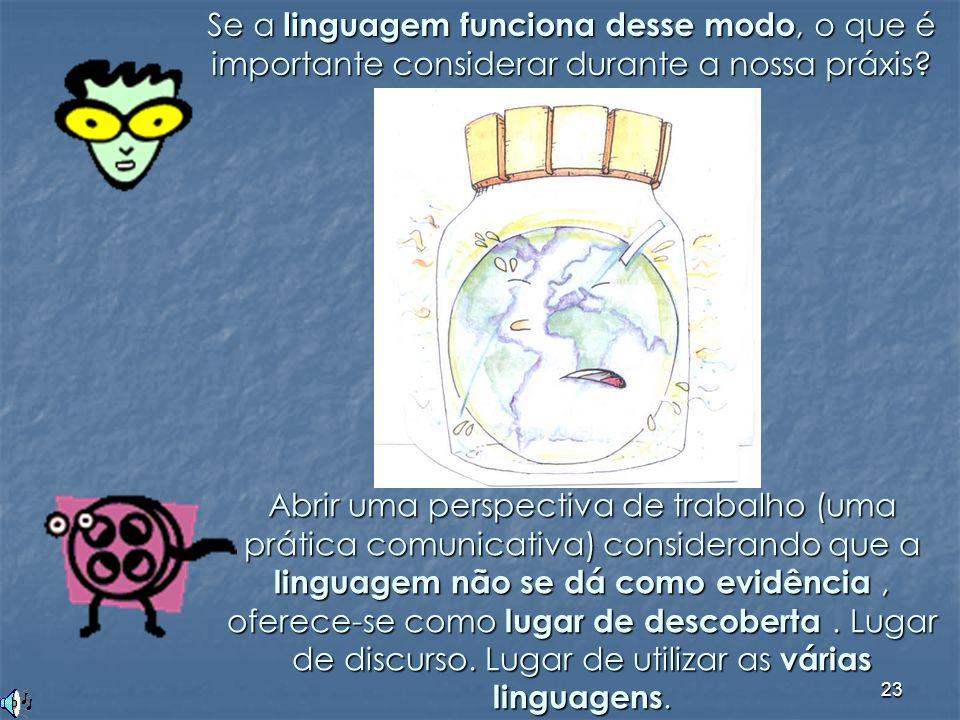 23 Se a linguagem funciona desse modo, o que é importante considerar durante a nossa práxis? Abrir uma perspectiva de trabalho (uma prática comunicati