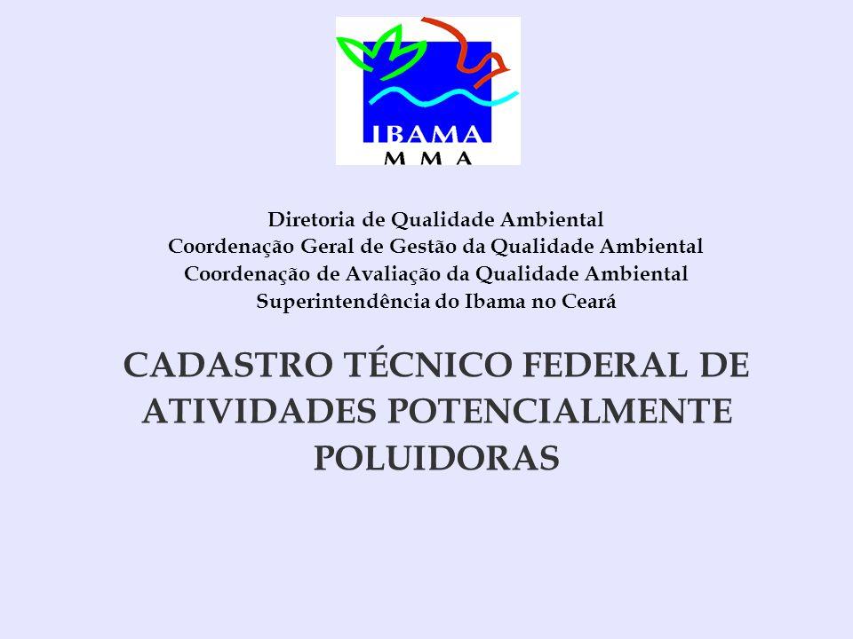 Diretoria de Qualidade Ambiental Coordenação Geral de Gestão da Qualidade Ambiental Coordenação de Avaliação da Qualidade Ambiental Superintendência do Ibama no Ceará CADASTRO TÉCNICO FEDERAL DE ATIVIDADES POTENCIALMENTE POLUIDORAS