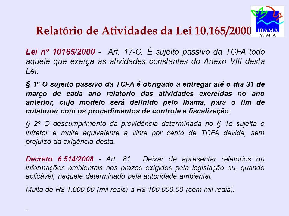 Relatório de Atividades da Lei 10.165/2000 Lei nº 10165/2000 - Art.