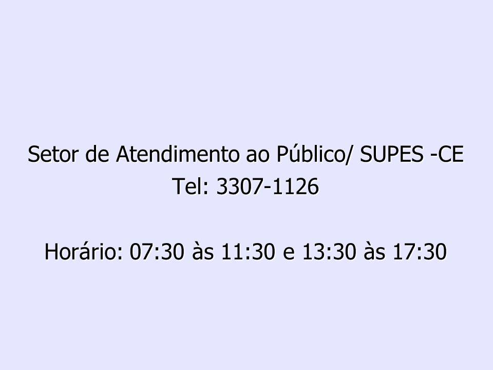 Setor de Atendimento ao Público/ SUPES -CE Tel: 3307-1126 Horário: 07:30 às 11:30 e 13:30 às 17:30