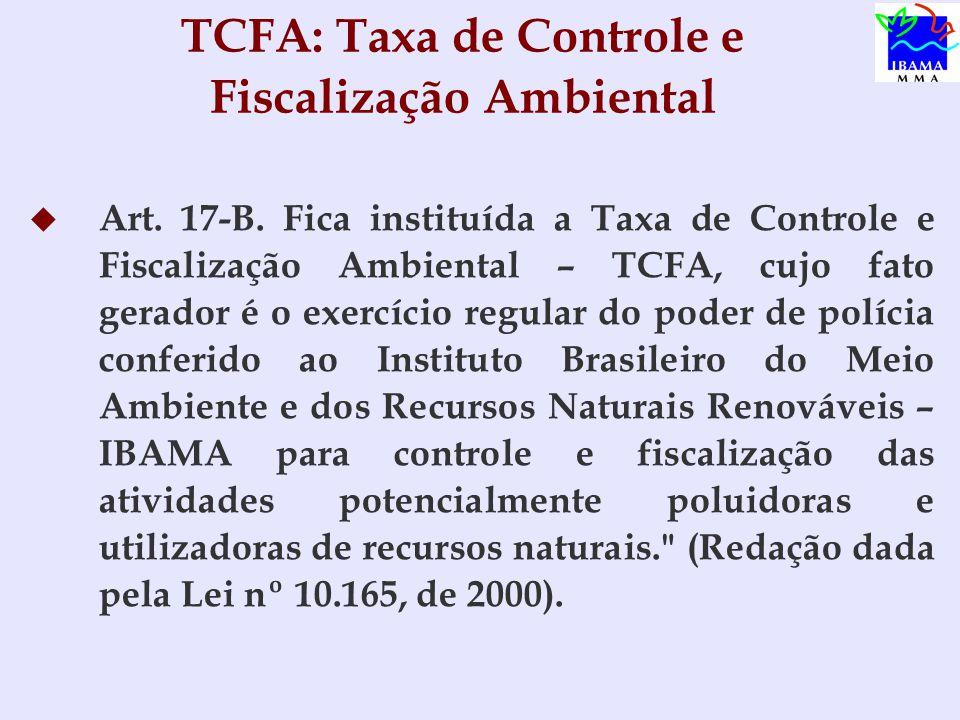 TCFA: Taxa de Controle e Fiscalização Ambiental   Art.