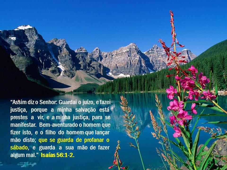"""""""Assim diz o Senhor: Guardai o juízo, e fazei justiça, porque a minha salvação está prestes a vir, e a minha justiça, para se manifestar. Bem-aventura"""