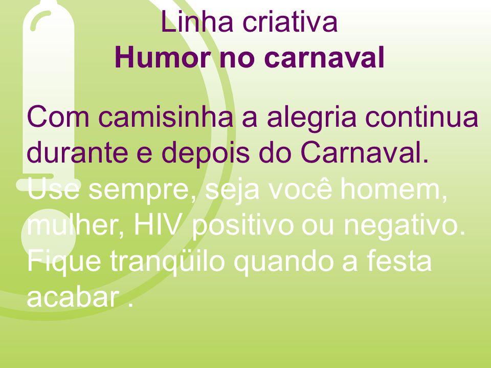 Linha criativa Humor no carnaval Com camisinha a alegria continua durante e depois do Carnaval.