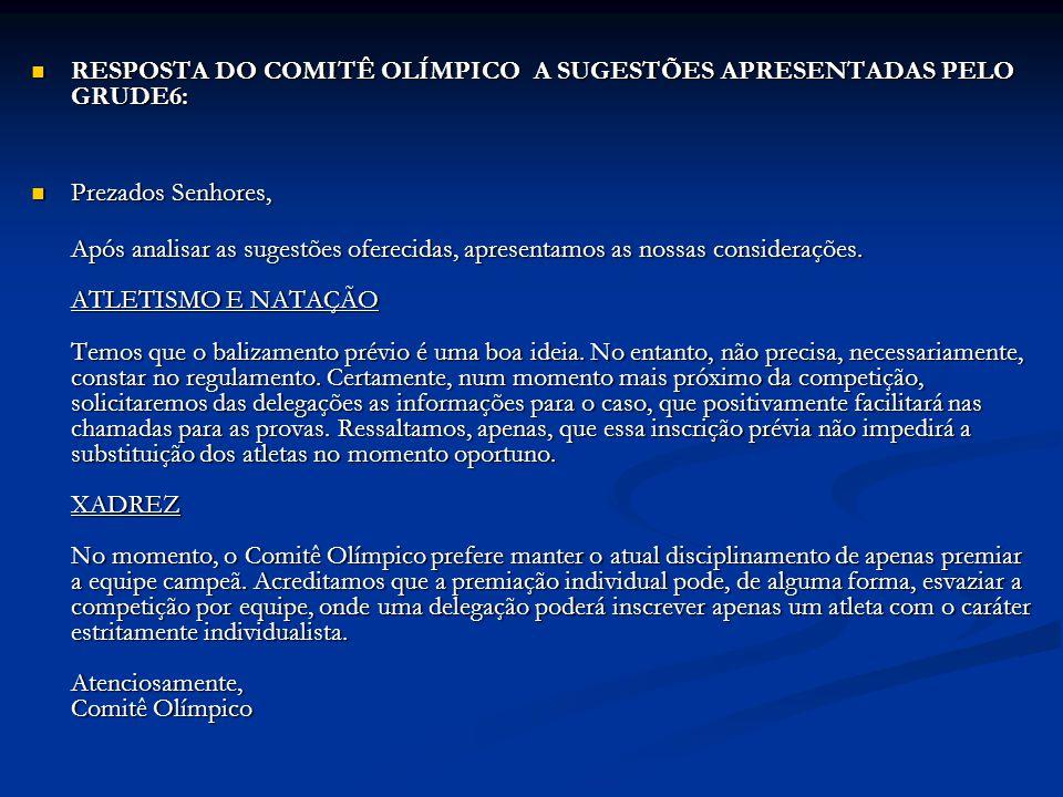 RESPOSTA DO COMITÊ OLÍMPICO A SUGESTÕES APRESENTADAS PELO GRUDE6: RESPOSTA DO COMITÊ OLÍMPICO A SUGESTÕES APRESENTADAS PELO GRUDE6: Prezados Senhores,