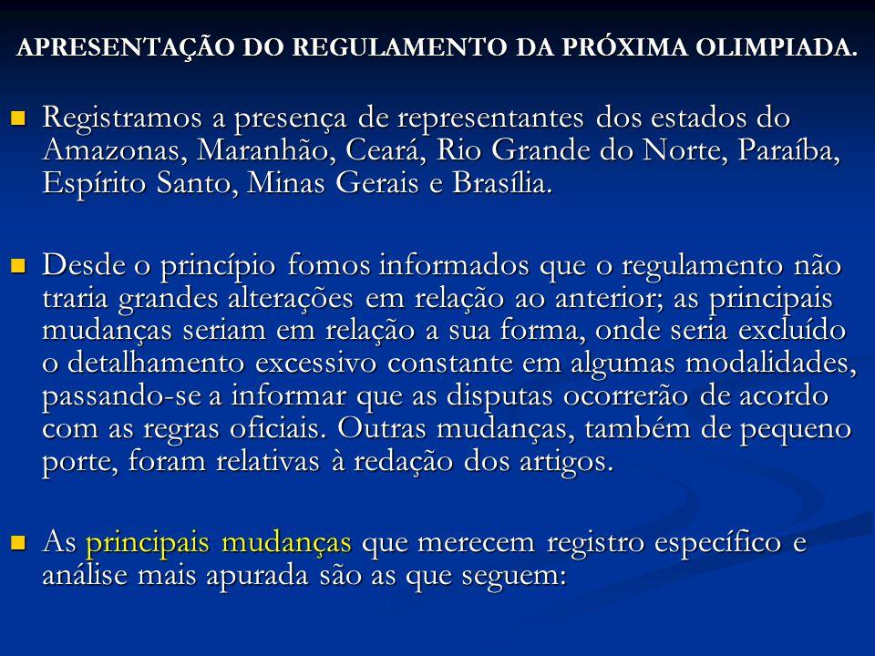 APRESENTAÇÃO DO REGULAMENTO DA PRÓXIMA OLIMPIADA. Registramos a presença de representantes dos estados do Amazonas, Maranhão, Ceará, Rio Grande do Nor