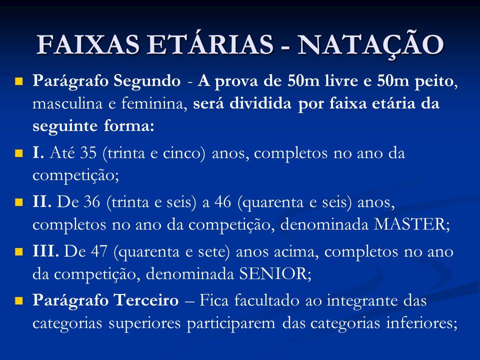 FAIXAS ETÁRIAS - NATAÇÃO Parágrafo Segundo - A prova de 50m livre e 50m peito, masculina e feminina, será dividida por faixa etária da seguinte forma: