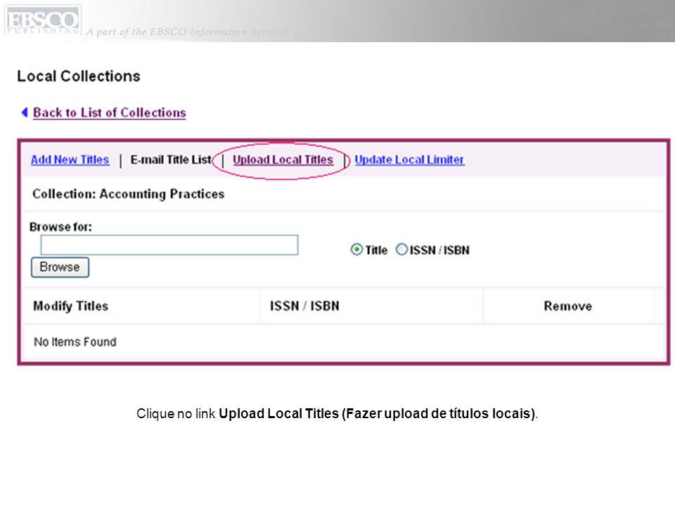 No campo Update Mode (Modo de atualização), indique se o registro deve ser anexado ou substituído.