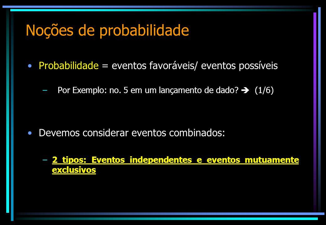 Noções de probabilidade Probabilidade = eventos favoráveis/ eventos possíveis –Por Exemplo: no. 5 em um lançamento de dado?  (1/6) Devemos considerar