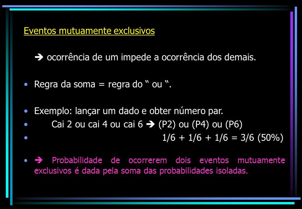 """Eventos mutuamente exclusivos  ocorrência de um impede a ocorrência dos demais. Regra da soma = regra do """" ou """". Exemplo: lançar um dado e obter núme"""