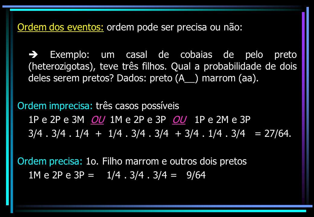 Ordem dos eventos: ordem pode ser precisa ou não:  Exemplo: um casal de cobaias de pelo preto (heterozigotas), teve três filhos. Qual a probabilidade