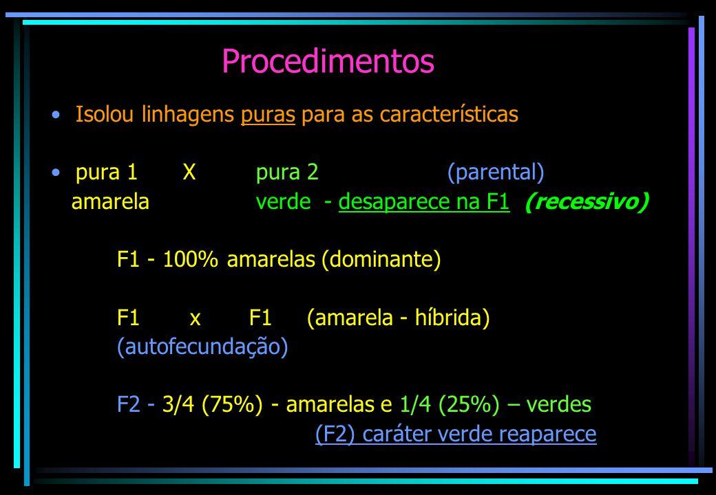 Procedimentos Isolou linhagens puras para as características pura 1X pura 2(parental) amarela verde - desaparece na F1 (recessivo) F1 - 100% amarelas (dominante) F1 xF1 (amarela - híbrida) (autofecundação) F2 - 3/4 (75%) - amarelas e 1/4 (25%) – verdes (F2) caráter verde reaparece