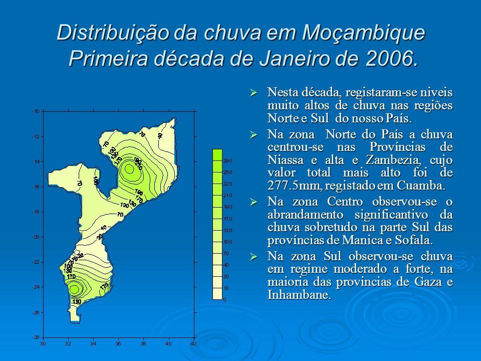 Distribuição da chuva em Moçambique Primeira década de Janeiro de 2006.