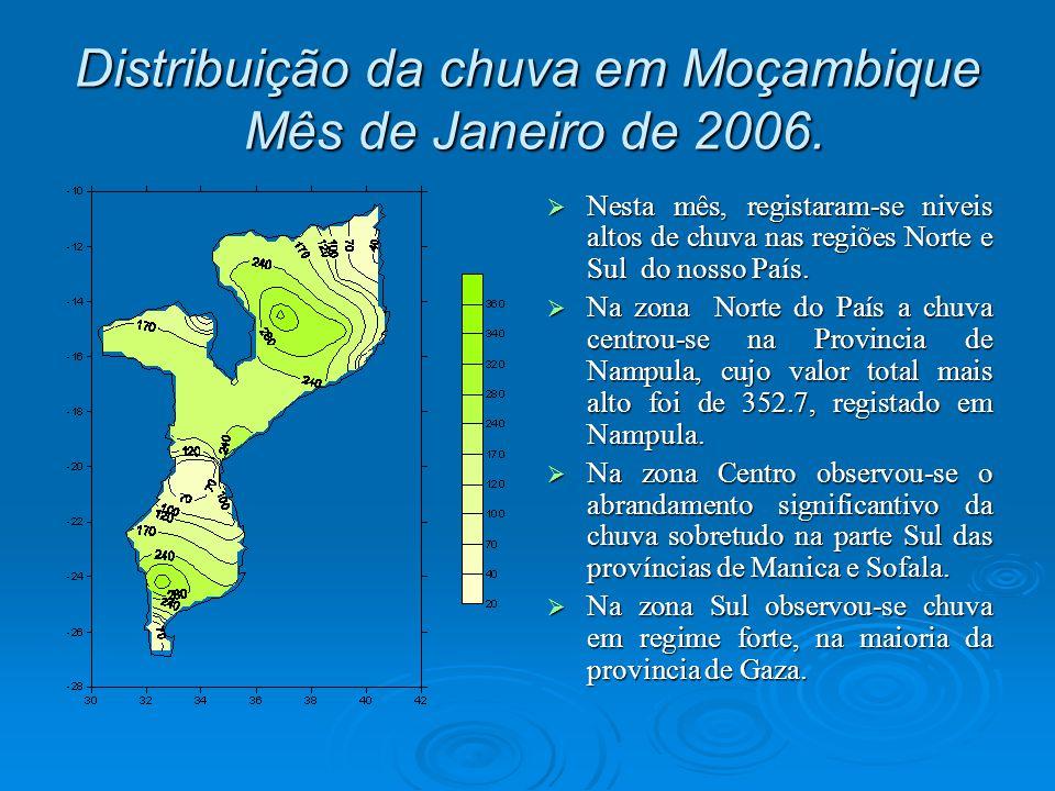 As cidades de Nampula, Quelimane e Pemba registaram chuva abaixo do normal durante o período de Outubro 2005 a Janeiro de 2006