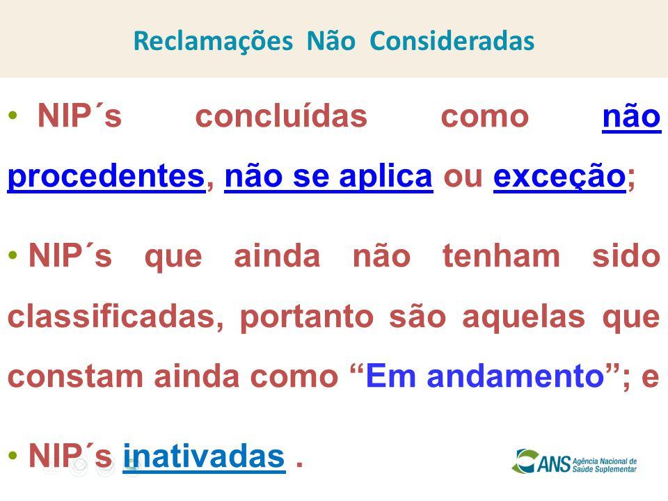 NIP´s concluídas como não procedentes, não se aplica ou exceção; NIP´s que ainda não tenham sido classificadas, portanto são aquelas que constam ainda como Em andamento ; e NIP´s inativadas.