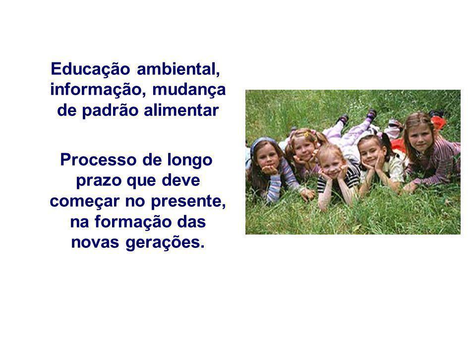 Educação ambiental, informação, mudança de padrão alimentar Processo de longo prazo que deve começar no presente, na formação das novas gerações.
