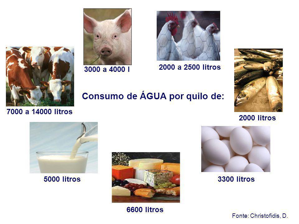 Consumo de ÁGUA por quilo de: Fonte: Christofidis, D. 7000 a 14000 litros 3000 a 4000 l 2000 a 2500 litros 2000 litros 3300 litros 6600 litros 5000 li