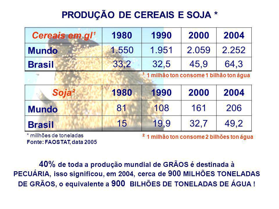 PRODUÇÃO DE CARNE * carne de boi e vitela¹1980 1990 2004 Mundo45,5100%53,3100%58,7100% Brasil2,86,15%4,17,71%7,713,24% carne de frango²1980 1990 2004 Mundo22,9100%35,4100%67,7100% Brasil1,35,6%2,36,64%8,612,80% carne de porco³1980 1990 2004 Mundo52,7100%69,8100%100,3100% Brasil11,9%1,11,50%3,13,09% carne em geral1980 1990 2004 Mundo136,7100%179,9100%257,5100% Brasil5,33,8%7,74,28%19,97,73% ¹1 milhão ton: 7 a 14 bilhões ton água ²1 milhão ton: 2 a 2,5 bilhões ton água ³1 milhão ton: 3 a 4 bilhões de ton água FAOSTAT data, 2005 *millhões toneladas Em 2004, foram consumidos no mundo no mínimo 845 bilhões de ton de água na produção de carne bovina, suína e de frango.