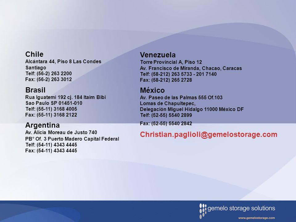 Chile Alcántara 44, Piso 8 Las Condes Santiago Telf: (56-2) 263 2200 Fax: (56-2) 263 3012 Brasil Rua Iguatemi 192 cj. 184 Itaim Bibi Sao Paulo SP 0145