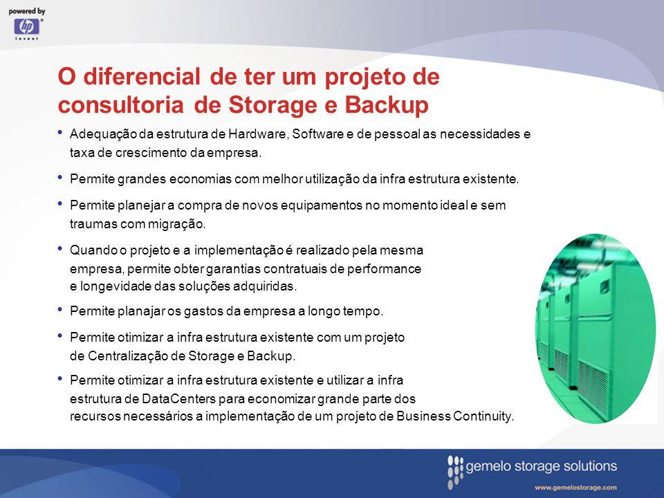 O diferencial de ter um projeto de consultoria de Storage e Backup Adequação da estrutura de Hardware, Software e de pessoal as necessidades e taxa de